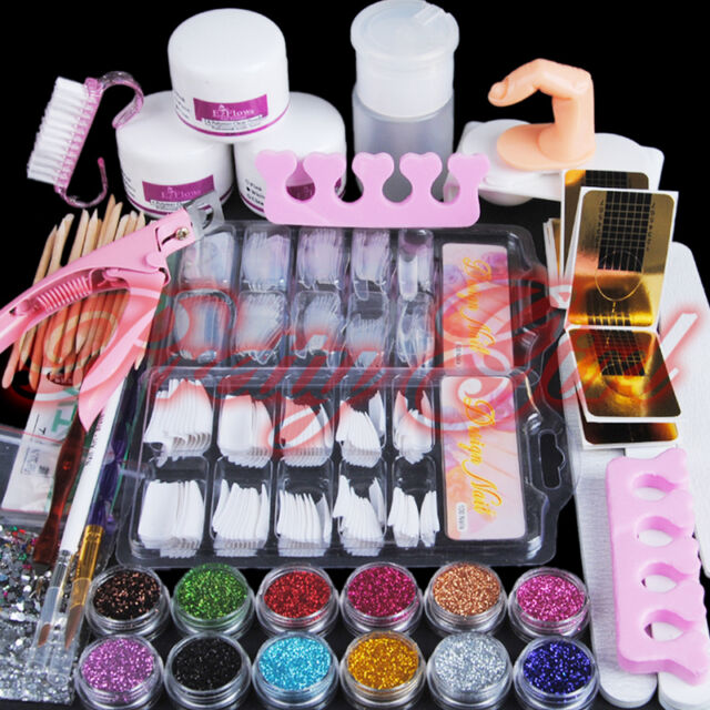 Nail Art Acrylic Powder Glitter Nail Brush Pump Form Nail Art Tip Tools Kit Set