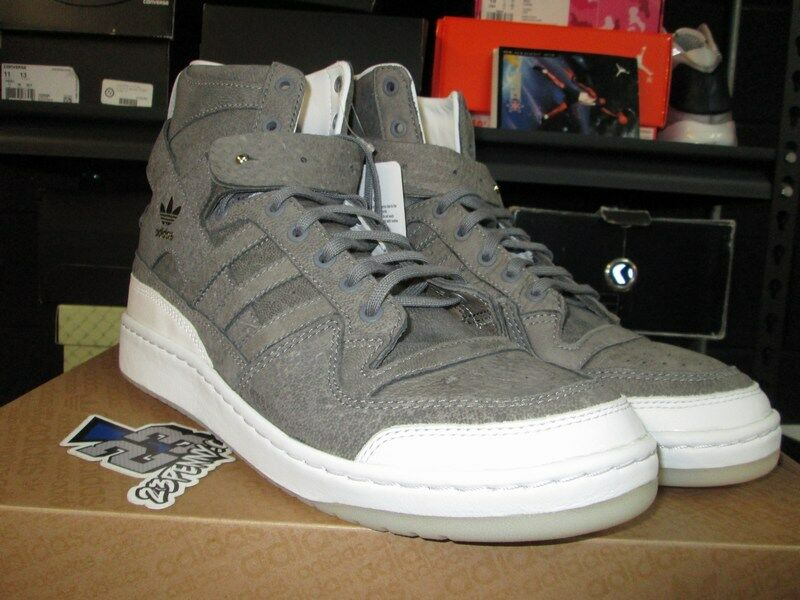NEW ADIDAS FORUM HIGH CRAFTED CHARLES F STEAD GREY WHITE GOLD BW1253 SZ 12