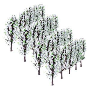 20PCS Scenery Landscape Layout Train Model Flower Tree 8.9cm Gauge Z White Green