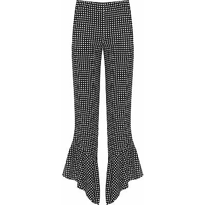 Women's Plus Size Flared Frill Asym Hem Gingham Check Stretch Trousers 12-26