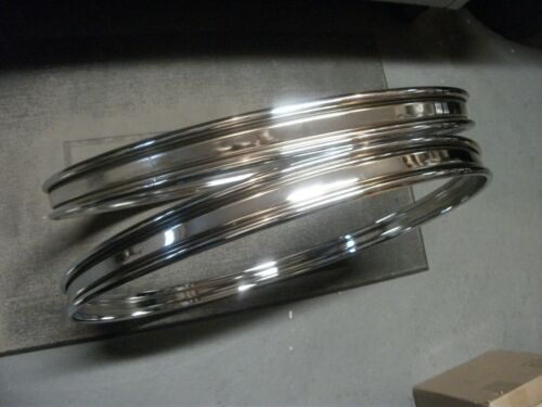 """1.75/"""" Wide w// 3//4/"""" Inlays. NEW Pair 22/"""" Chrome Steel Bass Drum Hoops//Rims"""