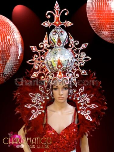 CHARISMATICO Matching red and silver Drag Queen Headdress and backpack collar