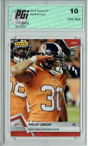 quality design b36a3 d9fa7 Details about Phillip Lindsay 2018 Panini Inst #194 Mile High Salute #1/215  Rookie Card PGI 10
