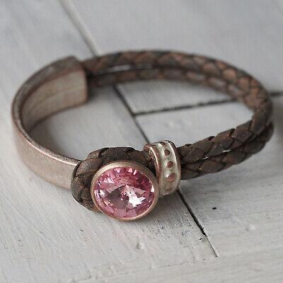 Nuovo Vera Pelle Bracciale Con 14mm Pietra Swarovski Light Rose/rosa Bracciale In Pelle-mostra Il Titolo Originale Facile Da Riparare