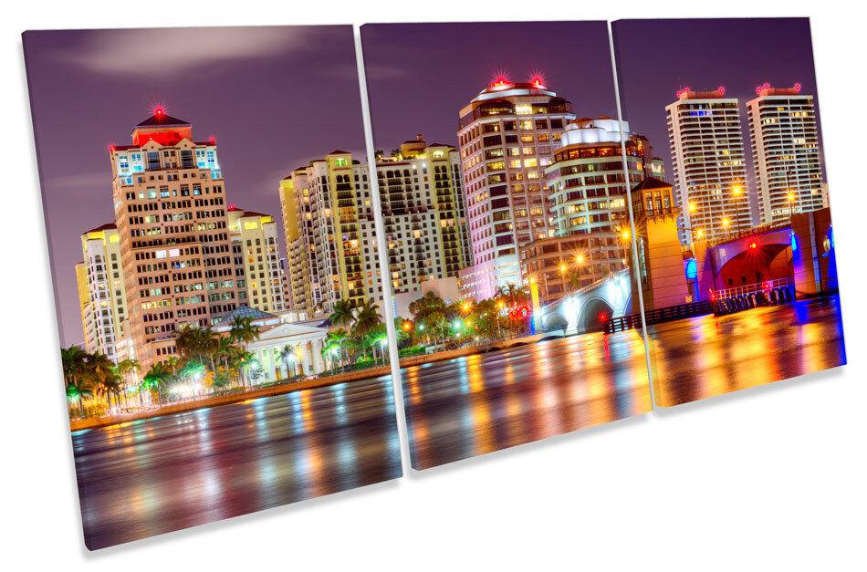 West Palm Beach Cityscape Florida Florida Florida TREBLE CANVAS WALL ART Print Picture 839863