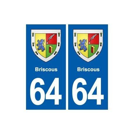 64 Briscous blason autocollant plaque stickers ville droits