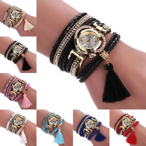 Women-Ethnic-Braided-Stainless-Steel-Dial-Crystal-Bracelet-Quartz-Wrist-Watch