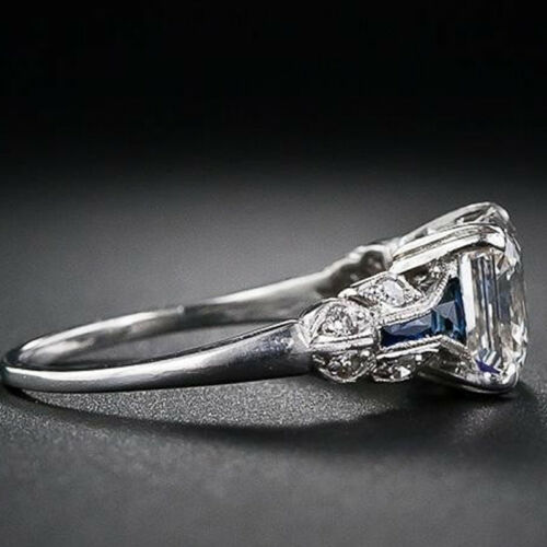 Turkish Bijoux Square White Topaz Silver Ring rétro faux saphir bijoux Jian