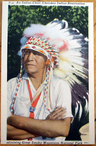 1940s-Native-American-Linen-Postcard-Indian-Chief-Cherokee-Reservation