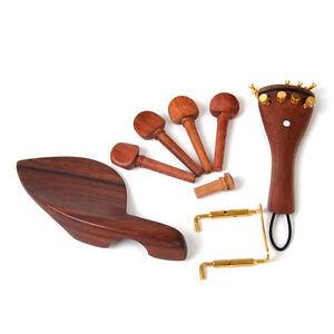 4-4-Violine-Wirbel-Geige-Holz-Zubehoer-Saitenhalter-Kinnhalter-Stachel-Violin