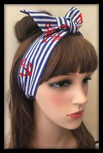 Nautical-Headband-Bandana-Hairband-Scarf-Hair-Tie-Band-Blue-Stripes-Fabric