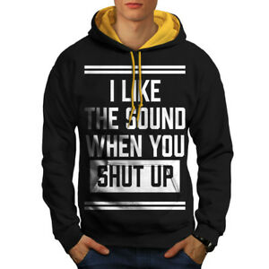 Offensive oro Black cappuccio Funny Men Up Shut New Hoodie Contrast 58zPxv0Wn