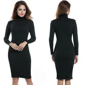 Women-Turtleneck-Long-Sleeve-Solid-Bodyson-Stretch-Pencil-Dress-H1PS-08