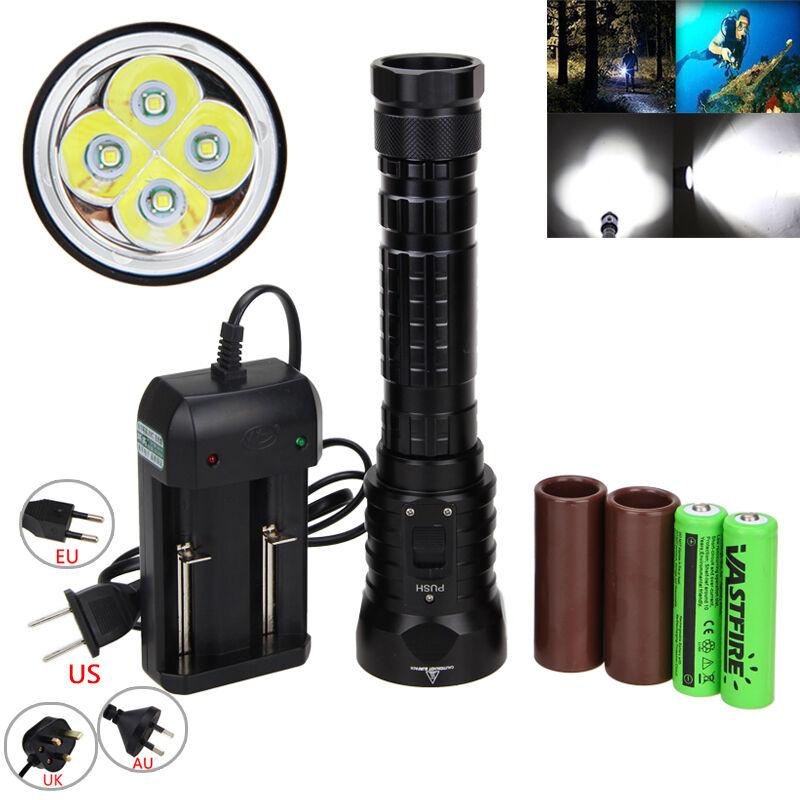 Tauchen 15000LM 4x T6 LED LED LED Taschenlampe Jagd Licht Lampe Unterwasser 100 mt f15b2e