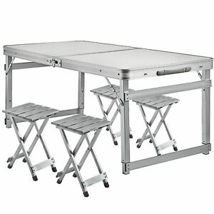 Foldable Table And Chair Set.Details About Folding Camping Table And Chair Set 4 Person Portable Family Outdoor Picnic Desk