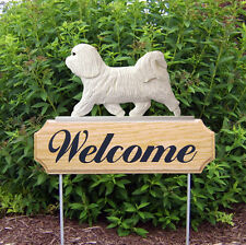 Havanese Dog Breed Oak Wood Welcome Outdoor Yard Sign White