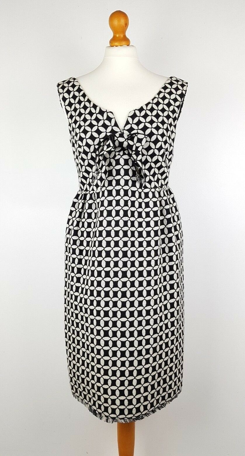 Anna Sui schwarz Weiß Monochrome 60s Retro Empire Line Cashwool Dress UK 10 US 6