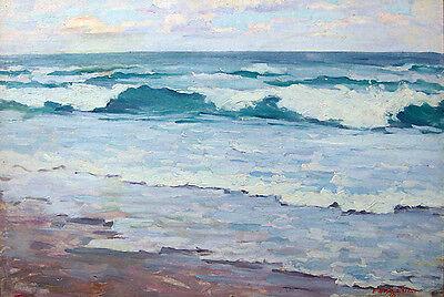"ELMER BOYD SMITH Signed 1920 Original Oil Painting - ""Surf Breaking"""