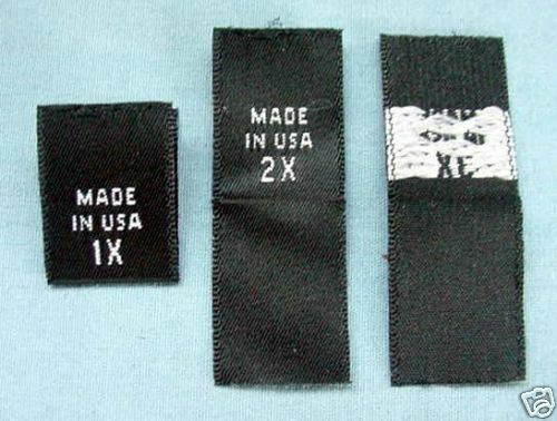100 WOVEN LABELS, MADE IN USA, 1X, 2X, 3X YOU CHOOSE