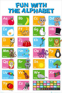 alphabet learn my abc poster 61x91cm educational chart picture
