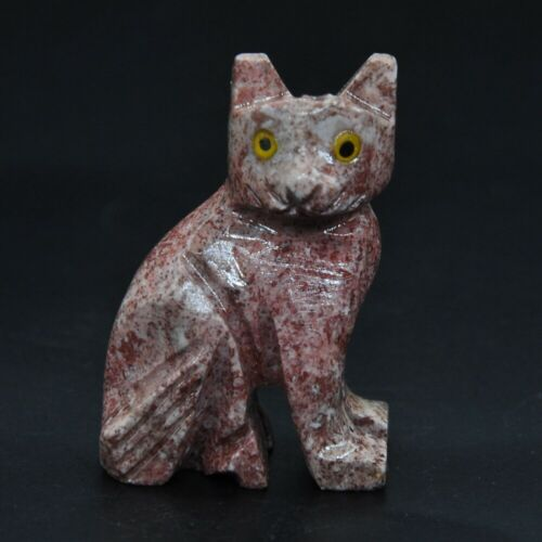 """1.5/"""" Stone Carving Cat Figurine Healing Crystal Natural Marble Ornament Decor"""