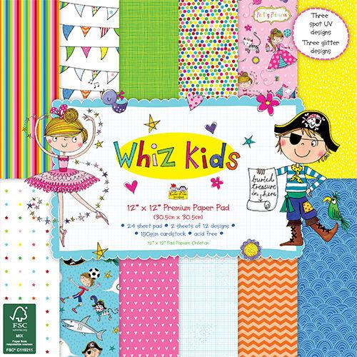 Dovecraft 12x12 Papel Pack-Whiz Kids 24 Hojas-libre de Reino Unido P/&p