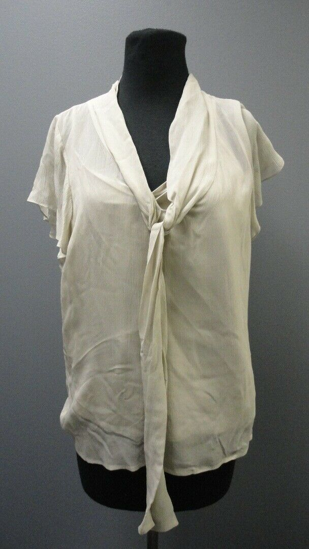 ST. JOHN Alabaster Short Sleeves Scoop Neck Solid Casual Blouse NWT Sz 12 GG3824
