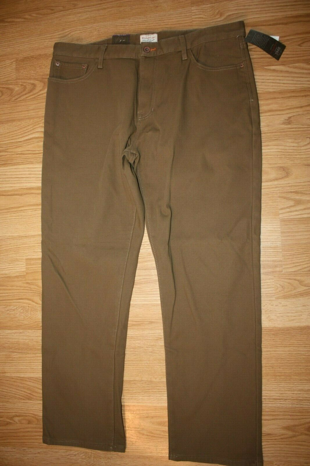 Weatherproof Mens Fleece Lined Jeans Brown Straight Leg Stretch Size 40x32 NWT