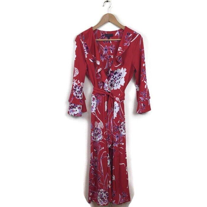 Hale Bob Dress M rot Weiß Floral Printed Faux Wrap Ruffle V Neck damen's Bell