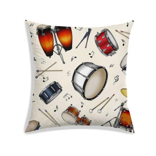 Instrument de Musique Imprimé Satin Housse De Coussin Beige Sofa Pillow Case Décor