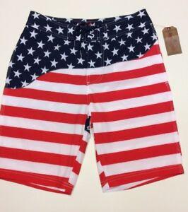 a04b98ae530e3 Mens Swim Trunks American Flag Board Shorts Size 30 Patriotic Stars ...