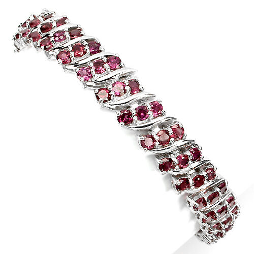 GLORIOUS NATURAL PINK RASPBERRY RHODOLITE GARNET 925 SILVER BRACELET 7.5 INCHES.