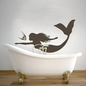 Mermaid removable wall sticker under the sea vinyl art for Mermaid bathroom decor vintage