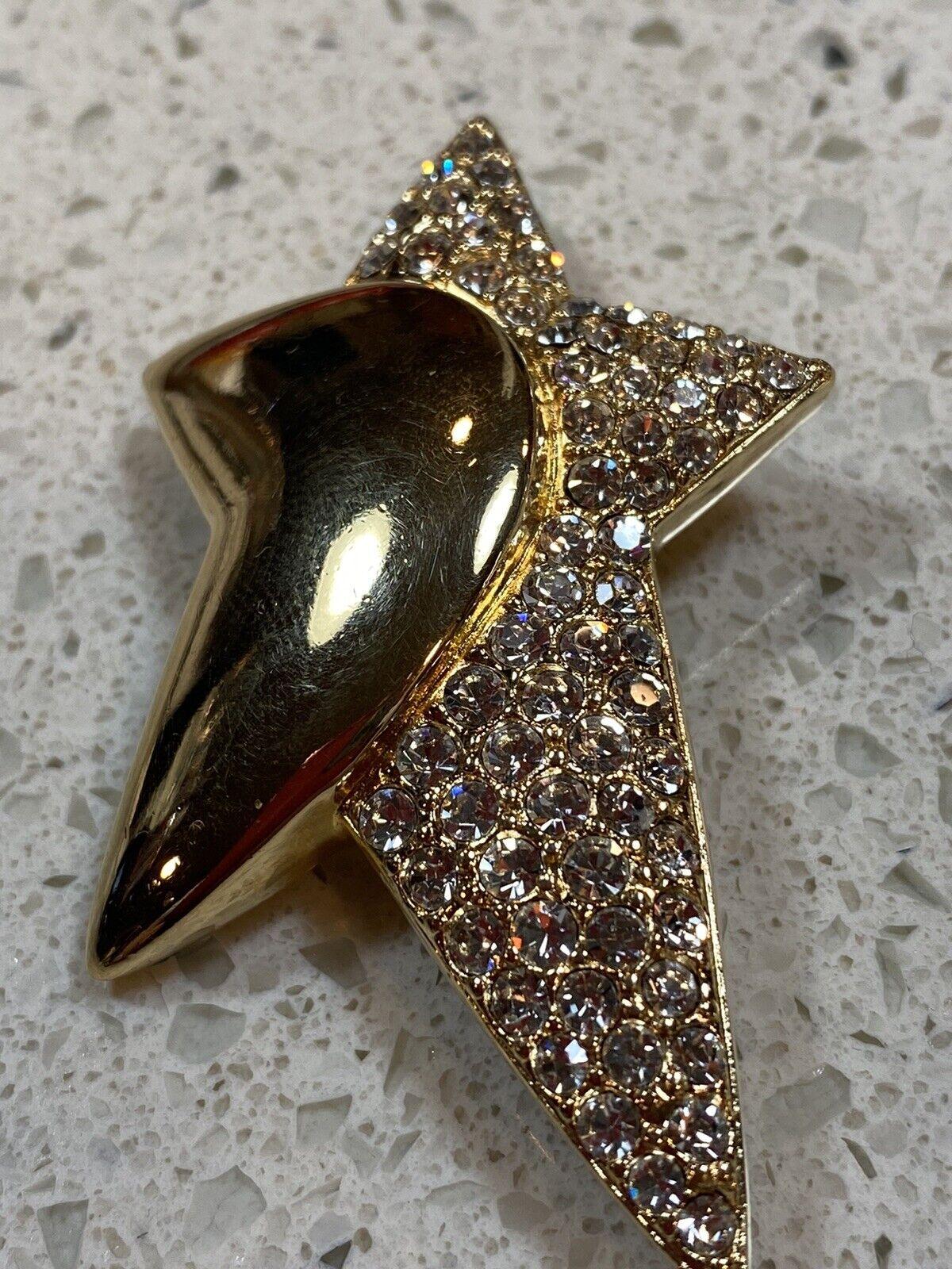 🤩Swarovski Vintage Gold Tone Star And Noon  Broo… - image 6