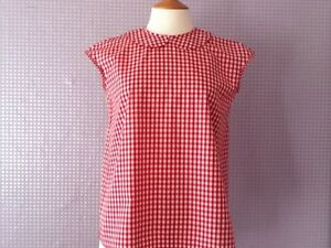 amp; Blouses Gingham White Button Collar Peter Pan Red Back dHTAqd
