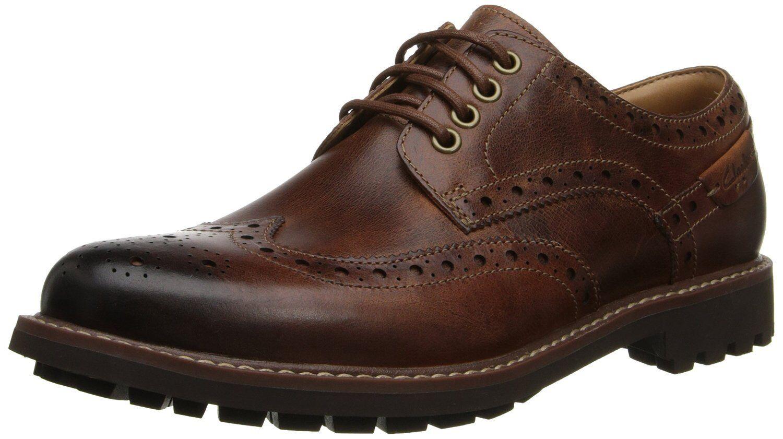 Men's Clarks 1825 Collection Montacute Wing Tip shoes Dark Tan 26103257