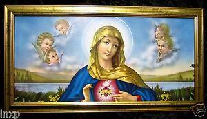 Santa-Maria-Madre-Virgen-Gottes-Cuadro-Oro-Antigua-Barroco-77x42-Cm-con-Marco