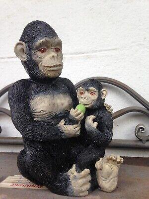 Schimpanse mit Baby Skulptur Affe Figur Tierfigur Afrika Gartenfigur Affen Deko