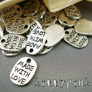 30-Silver-Plated-Made-with-Love-Tag-Necklace-Charms