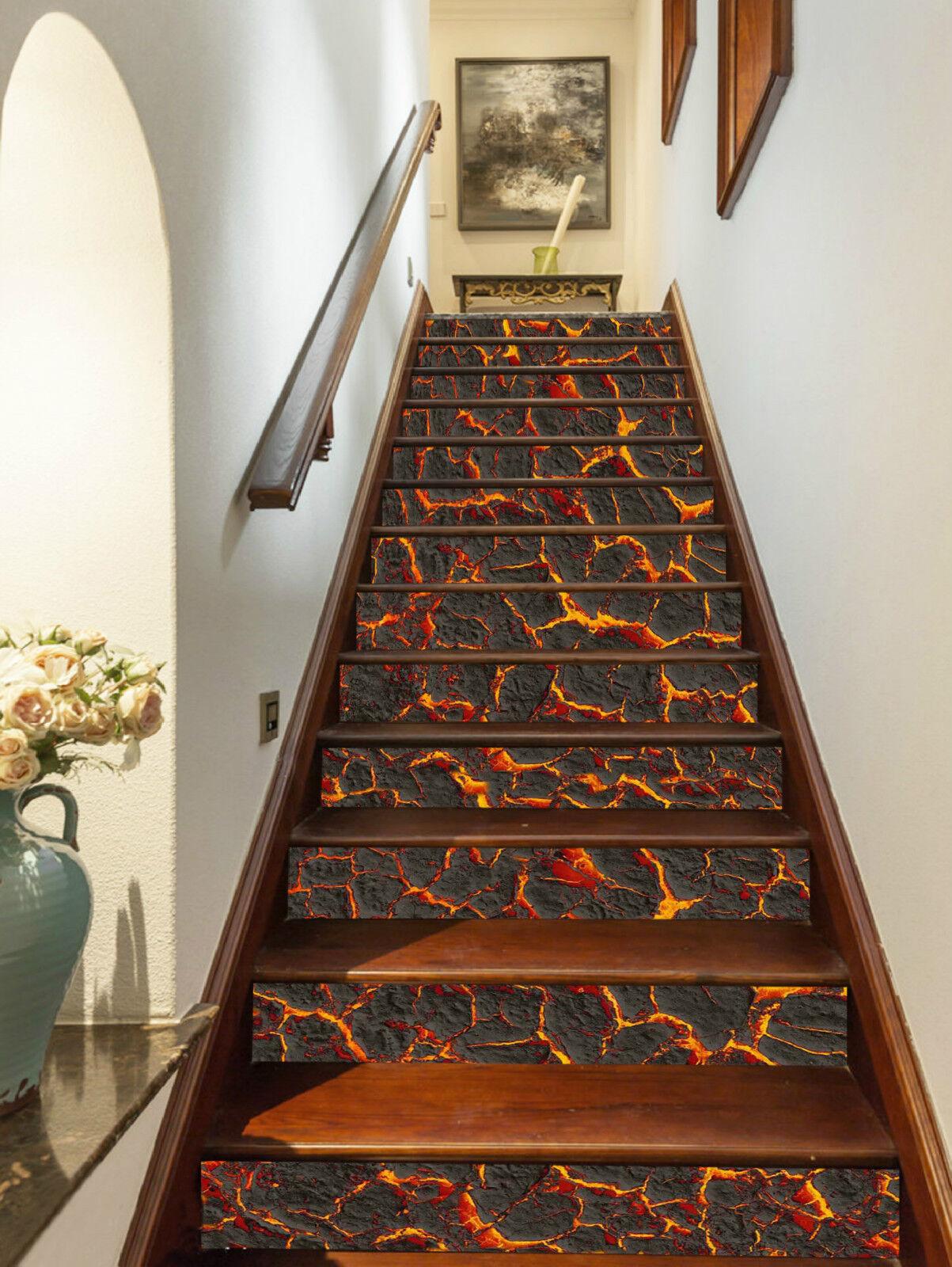 3D Vulkanlava 0045 Stair Risers Dekoration Fototapete Vinyl Aufkleber Tapete DE