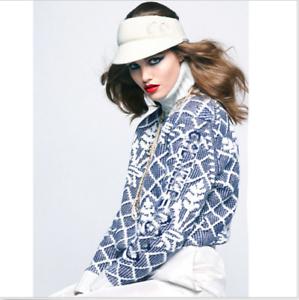 collo moda alto cashmere grana blu con maglia fiori in Maglioncino a a in allentata Occident wq1ZOxntT