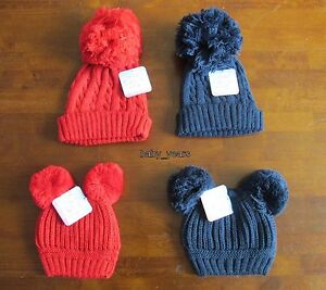 1aab0776765 BABY KNITTED POM POM HATS BOBBLE NAVY BLUE RED BOYS GIRLS WINTER ...