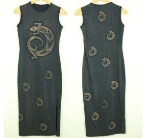 Black-Cotton-Bodycon-Midi-Dress-Lizard-Gecko-Knit-Midi-Boho-Tribal-Brown-S-90s
