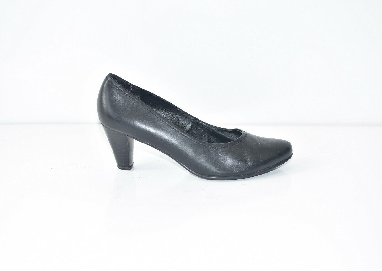 Black Real Leather JANA Mid Heel Court Women's shoes Heels Size UK5.5 EUR38.5