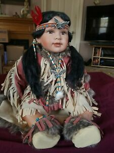 Fringe Cert of Authenticity Included Porcelain Beads Collections Etc Native American Mother and Baby Porcelain Doll Set Realistic Faux Fur Polyester Cradled Baby for Display Only