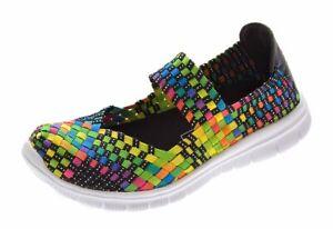 Damen-Ballerinas-geflochten-Slipper-flach-Sneaker-elastisch-Halb-Schuhe-36-41