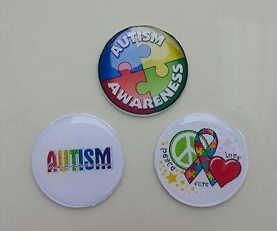 Set of 3 - 22mm Living Floating Locket Images Charm Disks - Autism Awareness
