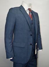 Men's Blue Glen Plaid 3 Piece 2 Button Slim Fit Suit SIZE 42R NEW