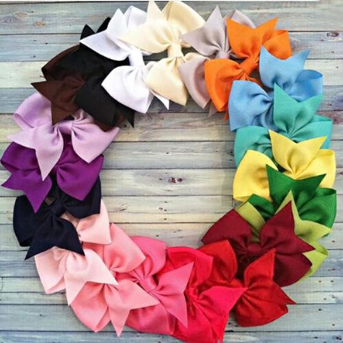 20PCS Baby Girls Hair Bows Boutique Hair Grosgrain Ribbon Alligator Clip Hairpin