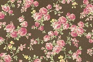 Cottage-Shabby-Chic-RURU-Bouquet-Rose-Spray-Cotton-Fabric-RU2200Y-17F-Cocoa-BTY